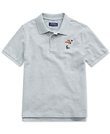Big Boys Rugby Bear Cotton Mesh  Polo Shirt