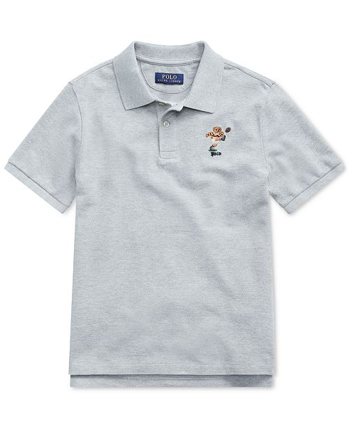 Polo Ralph Lauren Big Boys Rugby Bear Cotton Mesh  Polo Shirt