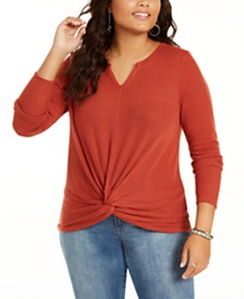 Planet Gold Trendy Plus Size Waffle Twist-Front Top