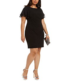 Plus Size Flutter-Sleeve Side-Ruched Dress