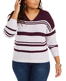 Planet Gold Trendy Plus Size Striped V-Neck Lace-Up Back Sweater