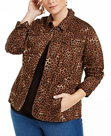 Plus Size Cheetah-Print Jacket, Created for Macy's