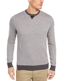 Tasso Elba Men's Colorblocked Whistle Patch Birdseye Sweater, Created for Macy's