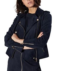 Armani Exchange Faux Suede Zip Up Moto Jacket