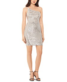 One-Shoulder Sequined Bodycon Dress
