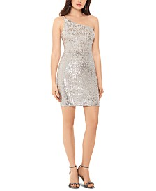 XSCAPE One-Shoulder Sequined Bodycon Dress