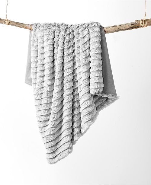 """Martha Stewart Collection Faux Fur Fringe 50"""" x 60"""" Throw, Created For Macy's"""