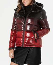 GUESS Colorblocked Hooded Puffer Coat