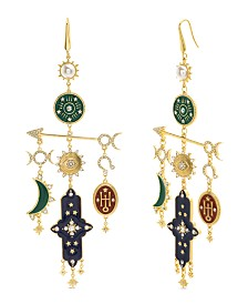 Steve Madden Enamel Celestial and Arrow Earrings