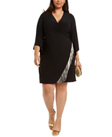 MSK Plus Size Fringe-Trim Surplice Dress
