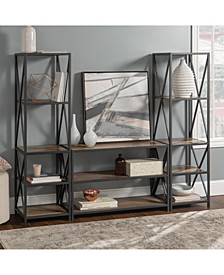 3 Piece Rustic Industrial Bookcase Set