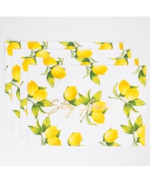 Image of 8 Oak Lane Lemon Printed Placemat Set