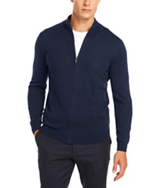 Tasso Elba Men's Solid Full-Zip Mock-Neck Merino Sweater, Created for Macy's