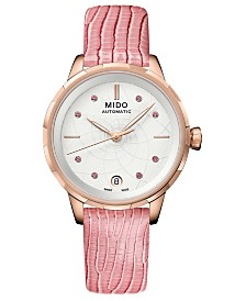 Mido Women's Swiss Automatic Rainflower Pink Leather Strap Watch 34mm, Created for Macy's