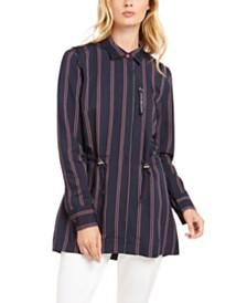 Tommy Hilfiger Striped Cinch-Waist Jacket