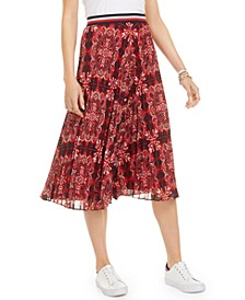 Bandana-Print Pleated Skirt