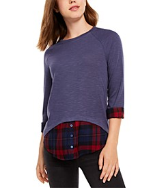 Juniors' Solid & Plaid Layered-Look Top