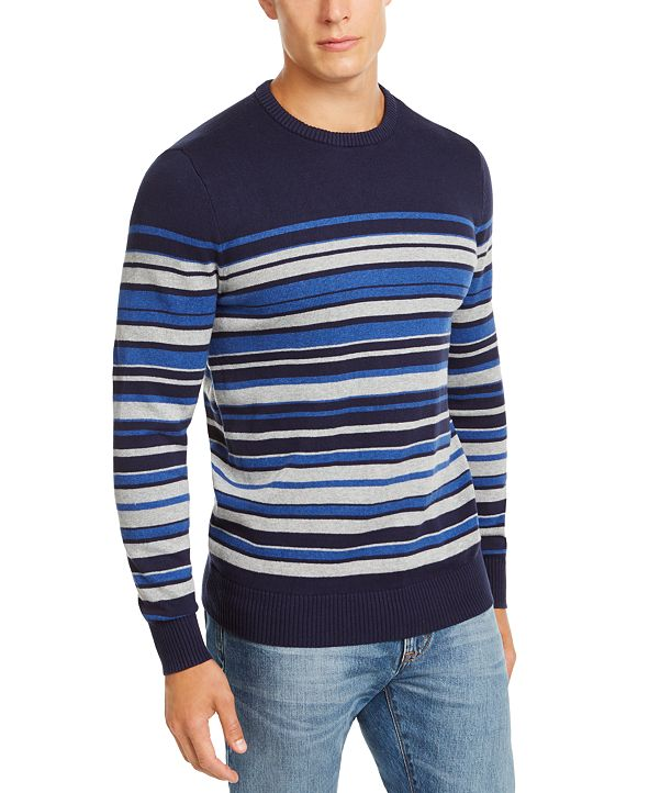 Club Room Men's Stripe Cotton Sweater, Created for Macy's