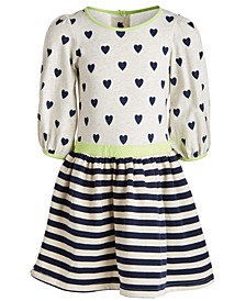 Little Girls Hearts & Stripes Printed Dress