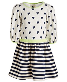 Good Lad Little Girls Hearts & Stripes Printed Dress