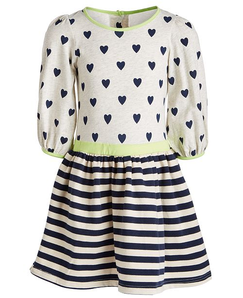 Good Lad Little Girls Hearts & Stripes Printed Dress