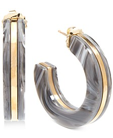 Medium Gold-Tone & Acetate Open Hoop Earrings 1-1/2""