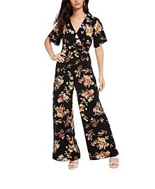 Juniors' Belted Kimono Jumpsuit