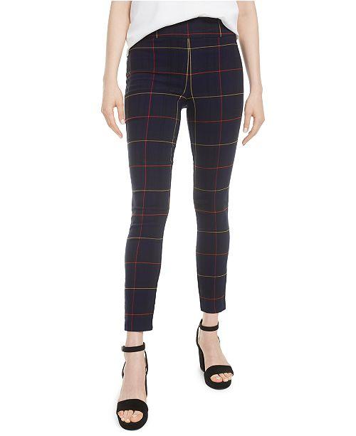 Bar III Plaid Skinny Pants, Created for Macy's