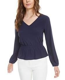 Bar III Bar-Back Peplum Top, Created for Macy's