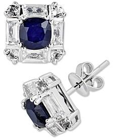 Sapphire (1 ct. t.w.) & White Topaz (1-1/4 ct. t.w.) Stud Earrings in 10k White Gold