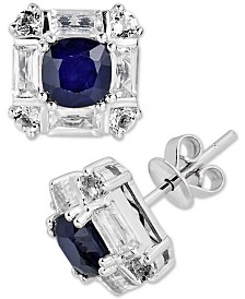 Sapphire (1 ct. t.w.) & White Topaz (1-1/4 ct. t.w.) Stud Earrings in 10k White Gold