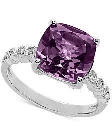 Bronzarte Amethyst (3-3/4 ct. t.w.) & Diamond (1/10 ct. t.w.) Ring in Sterling Silver