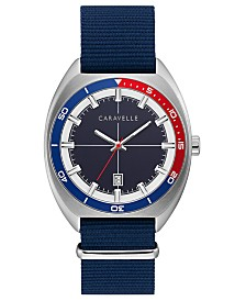 Caravelle Designed By Bulova Men's Blue Nylon Strap Watch 40mm