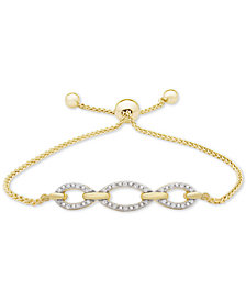 Diamond Chain Link Bolo Bracelet (1/10 ct. t.w.) in 14k Gold-Plated Sterling Silver