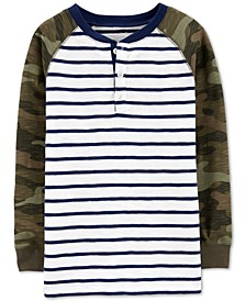 Little & Big Boys Striped & Camo-Print Cotton Henley T-Shirt