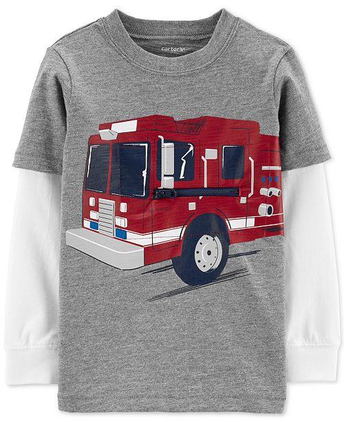 Carter's Toddler Boys Firetruck-Print Layered-Look Cotton T-Shirt