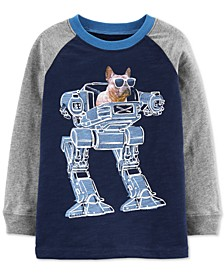 Toddler Boys French Bulldog Robot-Print Cotton T-Shirt