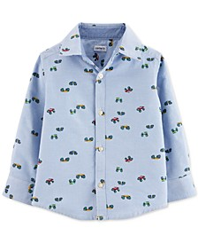 Toddler Boys Monster Truck-Print Button-Front Cotton Shirt