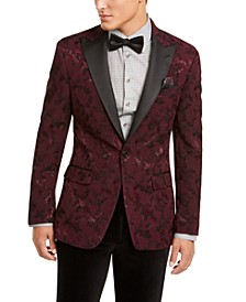 Men's Burgundy Floral Embroidered Dinner Jacket