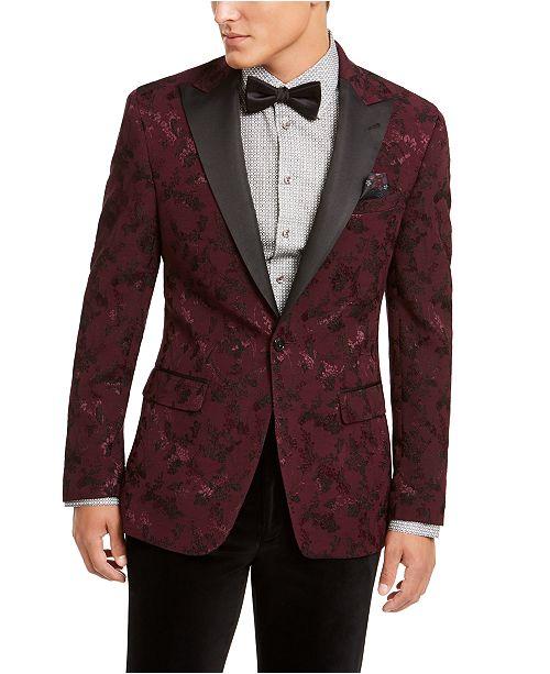Tallia Men's Burgundy Floral Embroidered Dinner Jacket