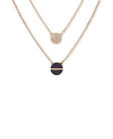 "DKNY Gold-Tone Pavé & Stone Double-Layer Pendant Necklace, 18"" + 3"" extender"