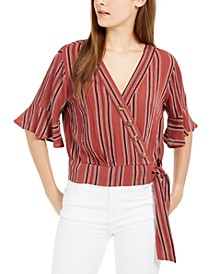 Juniors' Printed Faux-Wrap Top