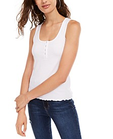 Juniors' Sleeveless Lettuce-Hem Top