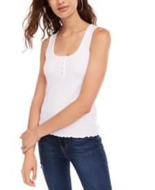 Planet Gold Juniors' Sleeveless Lettuce-Hem Top