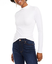 Juniors' Rib-Knit Mock-Neck Top
