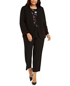 Plus Size Collarless Jacket, Tie-Sleeve Top & Straight-Leg Pants