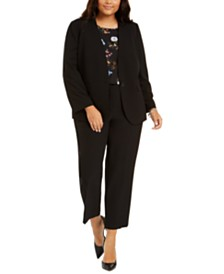 Nine West Plus Size Collarless Jacket, Tie-Sleeve Top & Straight-Leg Pants