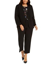 Nine West Plus Size Collarless Jacket, Tie-Sleeve Top & Straight-Leg Pants