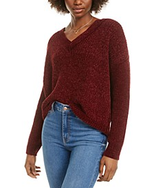 Juniors' V-Neck Chenille Sweater