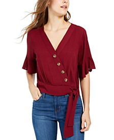 Juniors' Faux-Wrap Bell-Sleeve Top